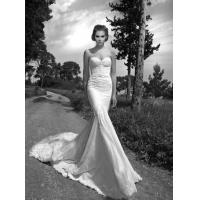 Quality White Lace Applique Organza Tulle Mermaid Wedding Dresses Chapel Train for sale