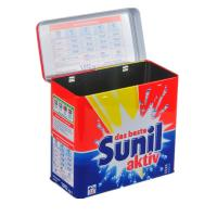 Buy cheap Sunil Washing Powder Metal Tin Container Box / Lid With Hinger , Silver Inside product