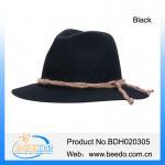 Quality Fashion black alpine bavarian hat with hemp rope for sale