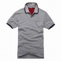 Quality Men's Summer Fashionable Polo Shirt, Two Plastic Buttons in Placket, Sham Pocket in Front for sale