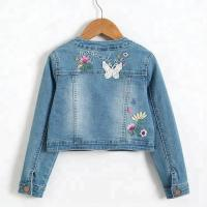 Quality Washed Long Sleeve Kids Denim Clothes Girls Denim Jacket Slim Type Breathable for sale