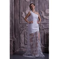 Chic One Shoulder Mermaid Lace Chiffon White Long Evening Party Gowns With Sash