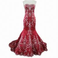 Quality Hot Red Embroidery Chinoiserie Wedding Dress with Fish Tail for sale