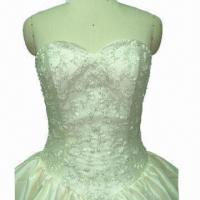 Quality Strapless Cathedral Train Wedding Dress with Hand Embroidery for sale