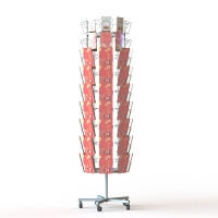 China 8 Sides Spinner Greeting Card Metal Display Rack 72 Pockets Post Cards Display Stand on sale
