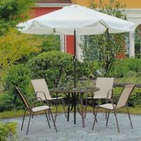 China 5-piece aluminum frame round table set, tempered glass and sling fabric on sale
