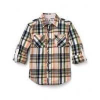 China 100% Cotton Flannel plaid button up shirts for children 21*21 80*58 150GSM for a cool day on sale