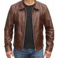 China Windproof special and charming brown Fleece Lined Leather jacket for men on sale
