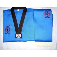 Quality Blue and Black Taekwondo Uniform / V Neck Tae Kwon Do Uniforms for sale
