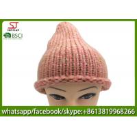 Quality Chinese manufactuer winter knitting hat  cap with brim beanie 100g 23*27cm 100%Acrylic keep warm for sale