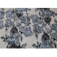 Quality CMA Approval Grey Flowers Embroidered Tulle Mesh Lace Fabric For Party Dress for sale