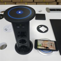 Buy Intelligent lifting pop up desktop socket with wireless charger / Smart Motorized pop up socket modern kitchen power gro at wholesale prices