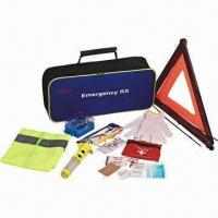 Quality 9pcs of car emergency kit, includes fire extinguisher, triangle, light stick, FAK and more for sale