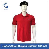 Quality Soft Feeling Red Premium Color Police Tee Shirts With 97% Cotton / 3% Spandex Materials for sale