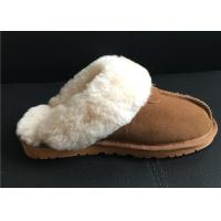 Quality Women's Sheepskin Slippers Shoes Luxurious Sheepskin Closed Toe Slippers for sale