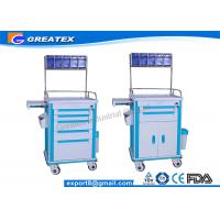 Quality Hospital Emergency Crash Cart ABS Emergency Anesthesia Trolley Cart for sale