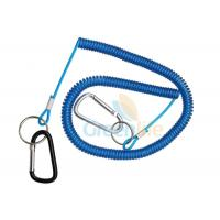 China 8 Meter Fishing Rod Lanyard Aluminum Carabiner Blue Flexible Fishing Safety Line Coiled Spring Rope on sale