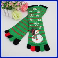 China Wholesale custom christmas snowman design five toes knee high tube socks on sale