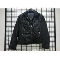 China Autumn Black Mens PU Jacket Faux Leather Biker With Detachable Knit Hood on sale