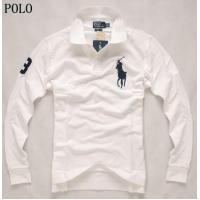 Buy cheap classic long sleeve mens rl polo shirt, 100% cotton, white from wholesalers