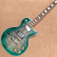 Quality New style high-quality custom LP electric guitar, Green&blue Flame Maple Top Rosewood fingerboard electric guitar, free for sale