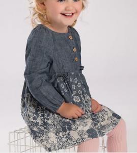 Spring girl denim dress Lovely printing princess skirt