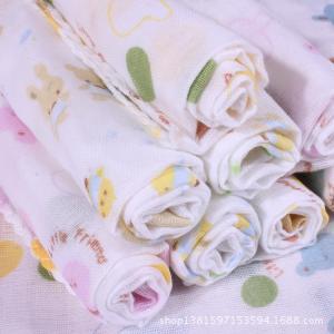 China Small Square baby muslin cloths Baby cotton double gauze cartoons handkerchief towel on sale