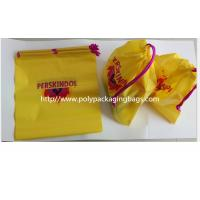 Quality Yellow Color Pvc Custom Plastic Drawstring Bags For Cosmetic / Daily Necessities / Clothes for sale
