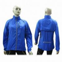 Quality Ladies' Cycling Jacket, 100% Polyester w/ Ac Transparent Coated/Reflective Tape, Zip/Chest Pocket for sale