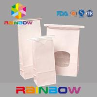 Buy White Kraft Paper Flat Bottom Window Bags With Tin Tie , Chia Seed Packaging at wholesale prices