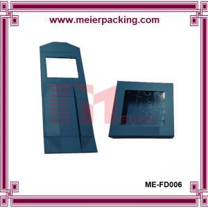 Quality Square paper box, custom printed folding box with PVC window, dark blue gift box  ME-FD006 for sale