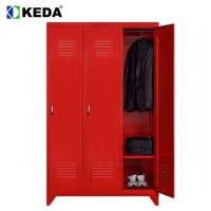 Quality Red Color D500mm 0.194 CBM Wardrobe Steel Cabinet for sale