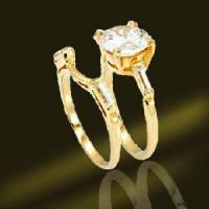 China Gold CZ Wedding Rings (RSA3422) on sale