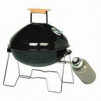 China Apple Style Portable Gas BBQ Grill with Wooden Handle and Steel Burner Plate Table Top Gas Grill on sale