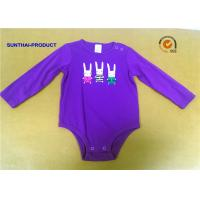 Buy Rabbit Screen Print Baby Cotton Bodysuit , Pink Newborn Long Sleeve Bodysuit at wholesale prices