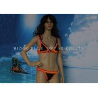 China Orange And Black Crochet Swimwear 2 Piece Crochet Halter Bikini For Younger Girls on sale