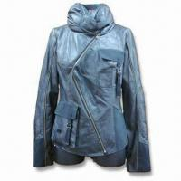 China Lamb Leather Jacket with Special Zip and Pocket Decoration, Suitable for Women on sale