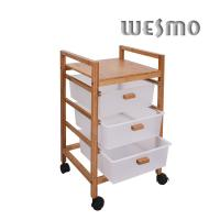 Quality Carbonize Finishing Triple Tier Bamboo Bathroom Trolley for Home / Hotel for sale