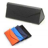 Quality New Metal Glasses Case PU Leather Sunglasses Box Folding Triangle Lightweight Portable Sun for sale