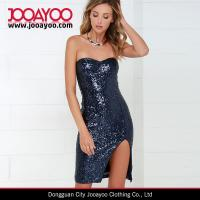 Quality Women New Dress Design Elegant Sexy Navy Blue Sequin Strapless Dress for sale