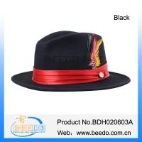 Quality Classical black wool felt fedora hat with feather for sale