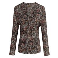Quality Custom developed Proviscose Pleats Ladies Abstract Printed Blouses / Tops for sale