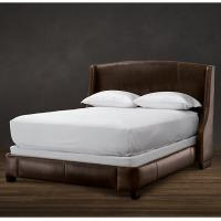 Buy cheap Amply padded throughout Solid Oak Wood King Leather Bed with storage product