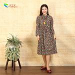 Quality Square Pocket Ladies Long Sleeve Dresses Flower Base Drawstring Waist Design for sale