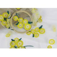 Quality Beatiful Sunflower 3D Embroidered Lace Fabric For Wedding Garment Decoration for sale