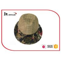 Buy cheap Fashion natural Wide Brimmed Straw Hat , mens floral aop trim seagrass straw hat product