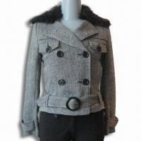 China Women's Jacket, Made of 30% Wool and 70% Polyester, Large Button in Front Body on sale