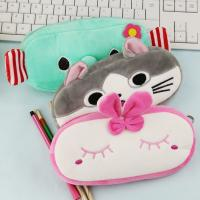 Quality Fashion Students Cute Stationery Pencil Case Rainbow Color Plush Pencil Bag for sale
