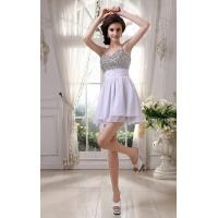 Quality Spaghetti Strap A Line Ruffle White Chiffon Prom Dress For Cocktail Dress With Beaded Mini Short for sale