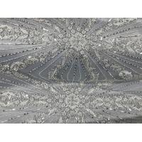 Quality Beautiful Silver Embroidered Heavy Beaded Lace Fabric , Beaded Net Fabric 130cm Width for sale